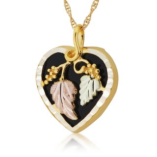 10k Yellow Gold and Black Hills Gold Onyx Heart Pendant