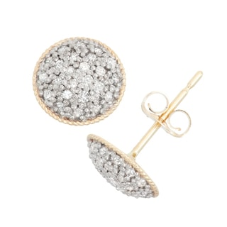 Gioelli 10k Gold .24ct TDW Diamond Round Cut Pave Round Stud Earrings (I-J/I2)