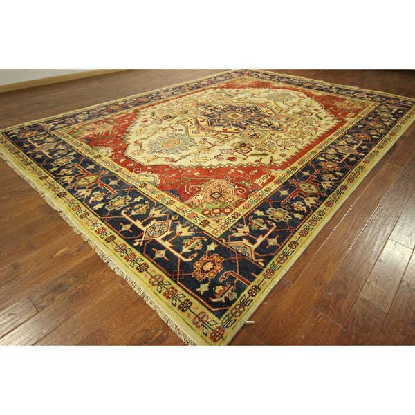New Unique Ivory-Red -Blue BoRed Heriz Hand-knotted Wool Serapi Rug (10'0 x 14'0)