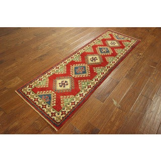 New Meadow Collection Super Kazak Hand-knotted Wool Red GeometricRug (2'2 x 6'8)