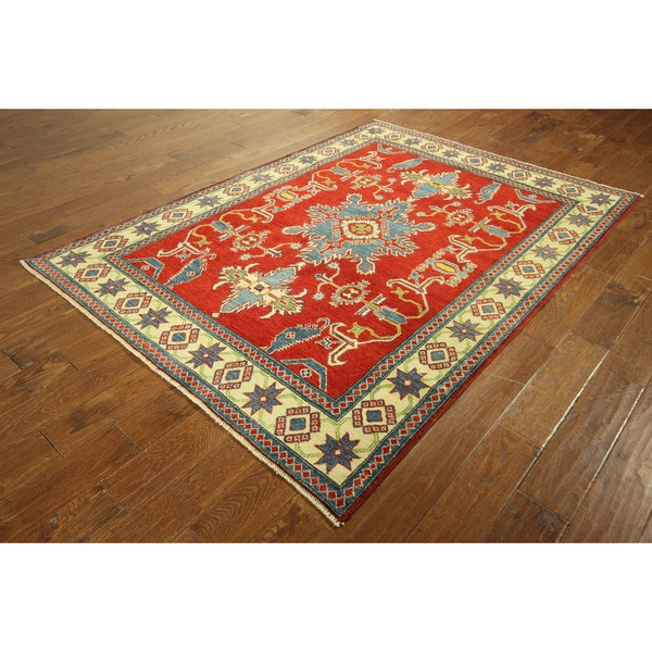 Hand-knotted Veg Dyed Imperial Red / Ivory Geometric Super Kazak Rug (5'2 x 7'1)
