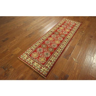 New Fine Hand-knotted Wool Super KazakGeometric Red Veg Dyed Area Rug (2'1 x 6'8)