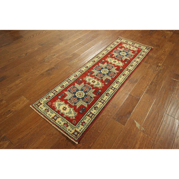 New Super Kazak Red Veg Dyed Hand-knotted -percent Wool Geometric Area Rug (2'0 x 6'1)