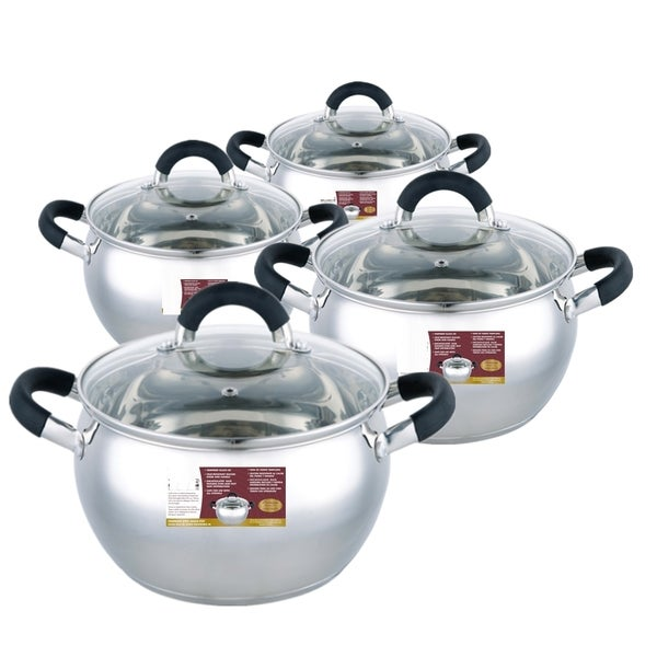 8-piece Stainless Steel Sauce Pot Set with Silicone Handles