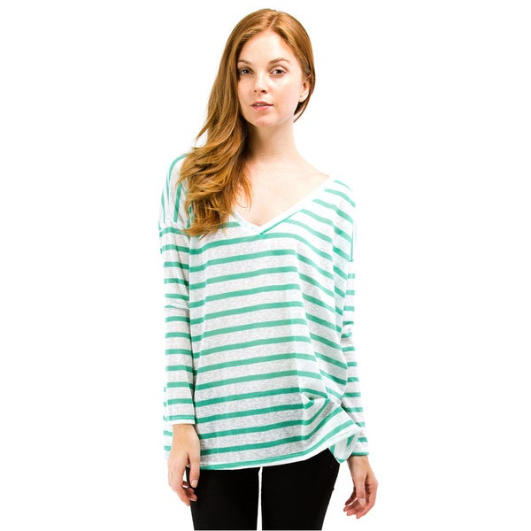 Always Me Clothing Green Striped Boyfriend V-Neck T-Shirt