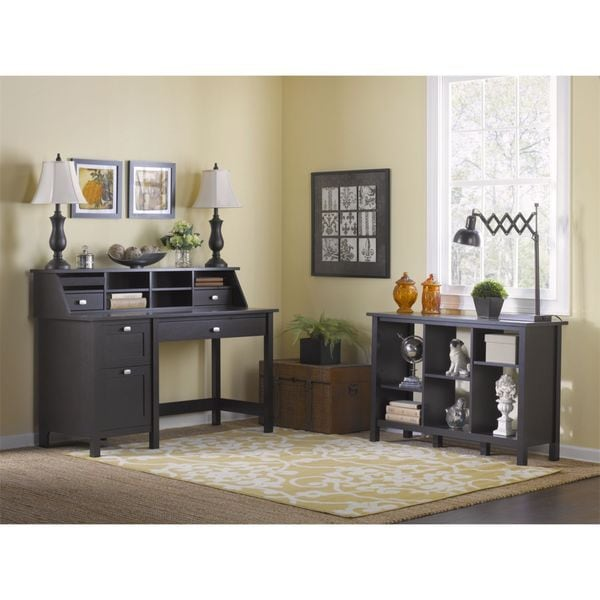 Bush Furniture Broadview Pedestal Desk and 6-cube Bookcase
