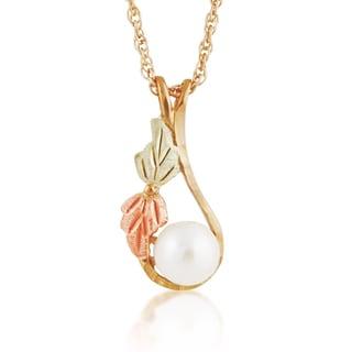 Black Hills 12k Tri-color Gold Pearl Pendant