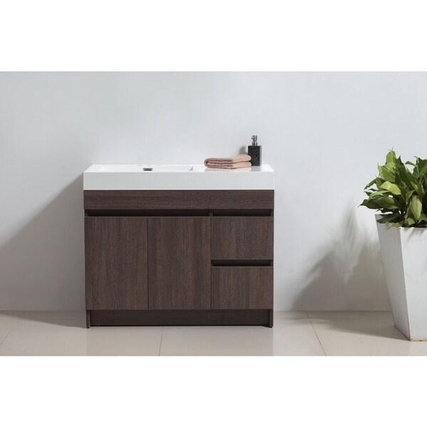 "Eviva Beach 39"" Grey Oak Modern Bathroom Vanity Set with Integrated White Acrylic Sink"