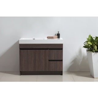 "Eviva Beach® 39"" Grey Oak Modern Bathroom Vanity Set with Integrated White Acrylic Sink"