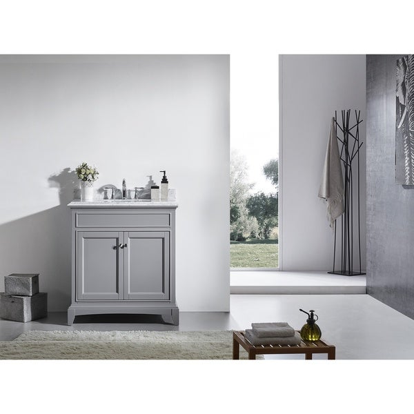 Eviva Elite Stamford Grey Bathroom Vanity Set with Double OG White Carrera Marble Top and White Undermount Porcelain Sink