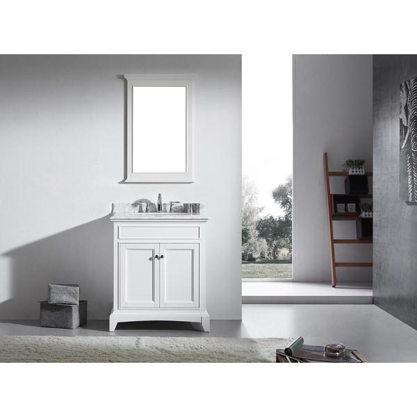 "Eviva Elite Stamford 30"" White Bathroom Vanity Set with Double OG White Carrera Marble Top & White Undermount Porcelain Sink"