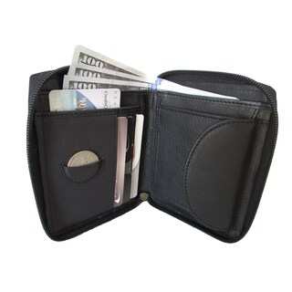 Continental Leather Bifold Men's Bifold Tall Wallet Zipper Around and Interior Coin Pocket