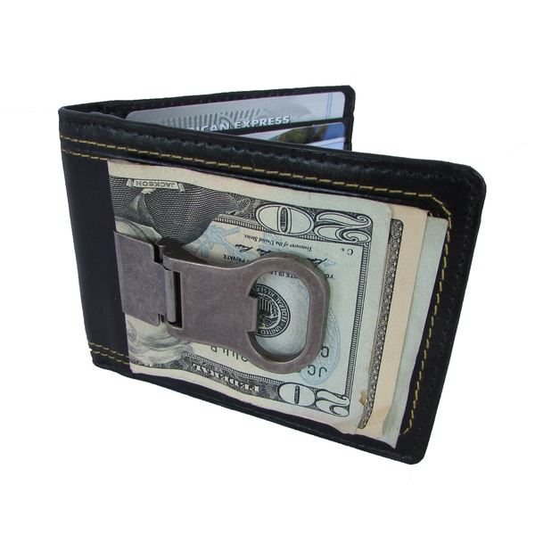 Continental Leather Bottle Opener Money Clip Front Pocket Wallet With Detail Stitching