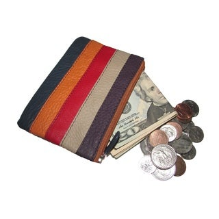 Small Genuine Leather Coin Purse with Two Zippered Pockets
