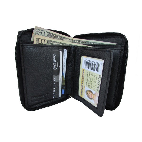 Continental Leather Bifold Zip Around Wallet with Multiple Credit Card Slots