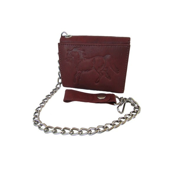 Continental Leather Men's Horse Embossed Trifold Chain Wallet