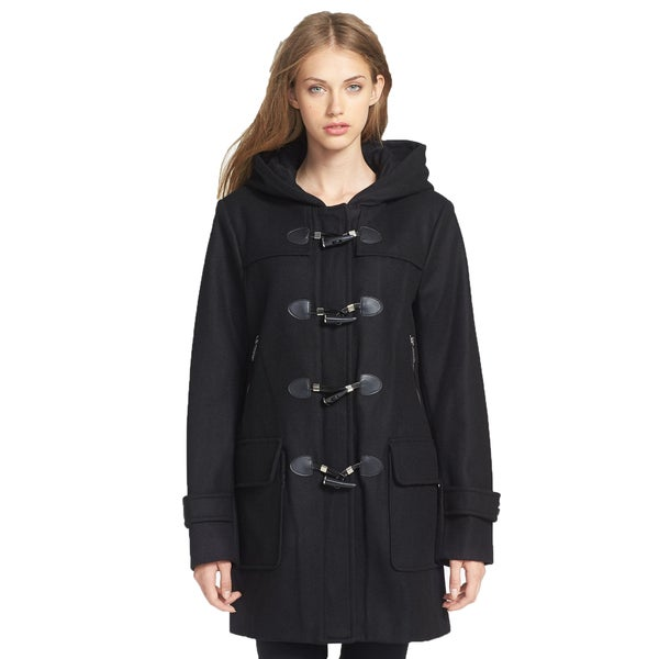 Michael Michael Kors Black Wool Toggle Front Hooded Duffle Coat
