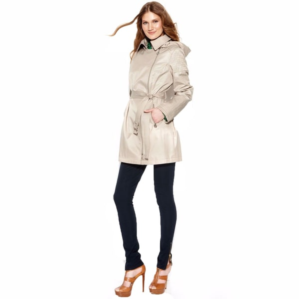 Michael Michael Kors Khaki Asymmetrical Zip Trench Coat