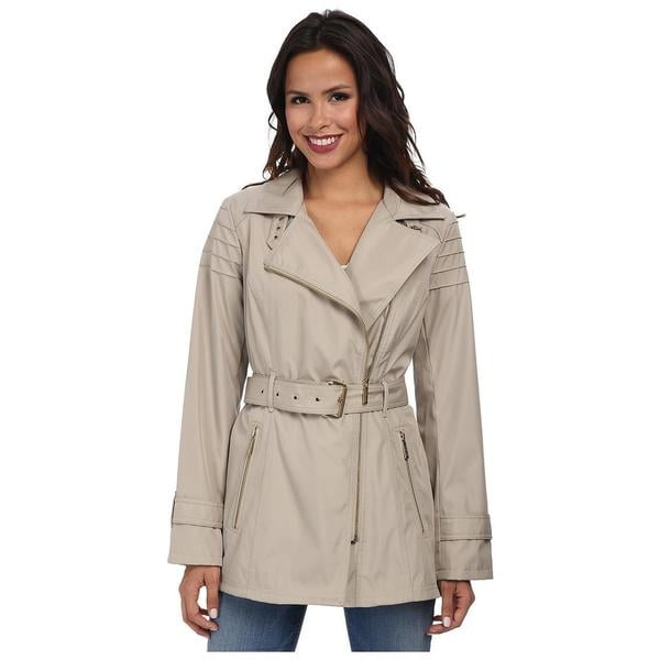 Michael Michael Kors Women's Beige Asymmetrical Zip Trench Coat