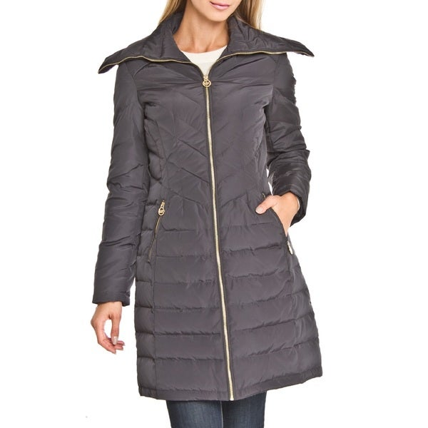 Michael Michael Kors Slate Grey Wing Collar Down Puffer Coat