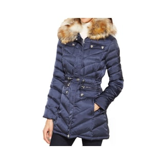 Laundry by Shelli Segal Blue Down Faux Fur Hooded Quilted Puffer Coat