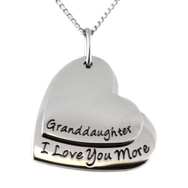 Granddaughter I Love You More Double Heart Pendant