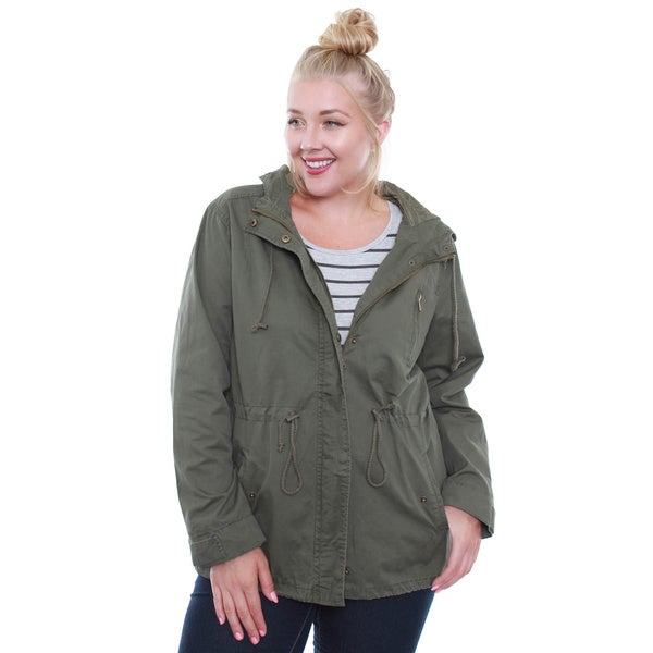 Juniors' Olive Army Plus-Size Jacket