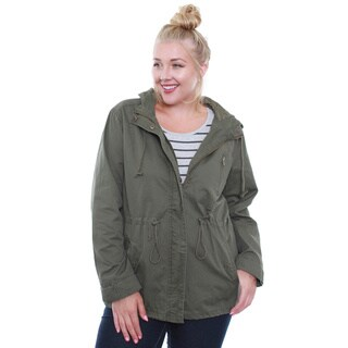 Juniors' Olive Army Plus-Size Jacket