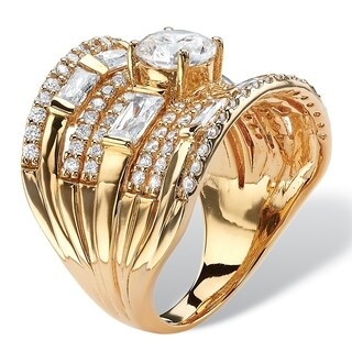 PalmBeach 18k Gold over Sterling Silver 3 2/5ct Round Cubic Zirconia Concave Multi-row Scoop Ring Glam CZ