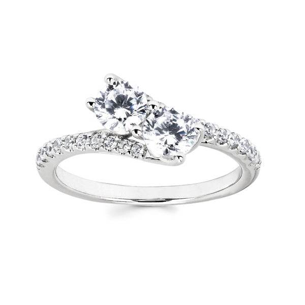 10k White Gold 1ct TDW Two-stone Diamond Ring (H-I, I1-I2)
