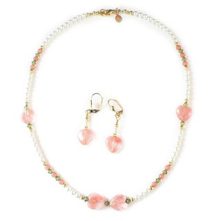 Palmtree Gems 'Stephanie' Cherry Heart Necklace and Dangle Earring Set