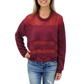 Relished Women's Tokyo Dash Quilted Burgundy Sweater