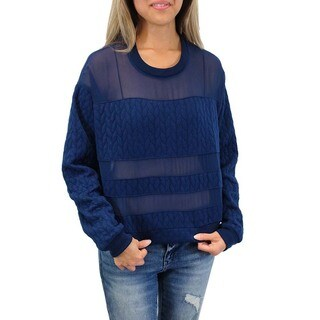 Relished Women's Tokyo Dash Quilted Navy Sweater
