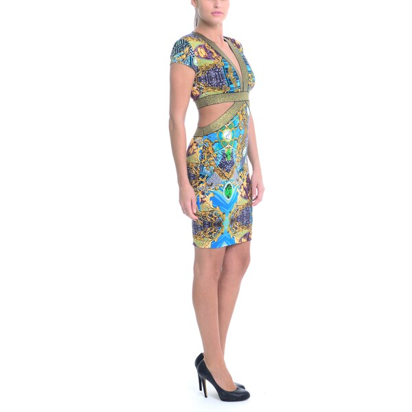 Sentimental NY Women's V-Neck Cutout Short-Sleeve Mini Dress