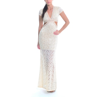 Sentimental NY Women's Champagne Lace and Sparkle V-Neck Cutout Maxi Gown