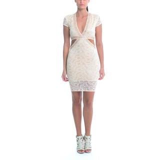 Sentimental NY Women's Champagne Lace V-Neck Cutout Knee Dress