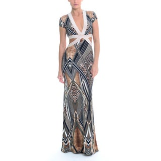 Sentimental NY Women's Venetian Print V-Neck Cutout Maxi Gown
