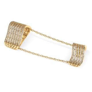 PalmBeach 14k Gold over Sterling Silver 1 1/4ct Pave Cubic Zirconia Multi-row Double Cuff Ring Bold Fashion