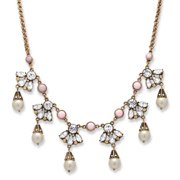 PalmBeach Antique Goldtone Crystal and Simulated Pearl Droplet Necklace Bold Fashion