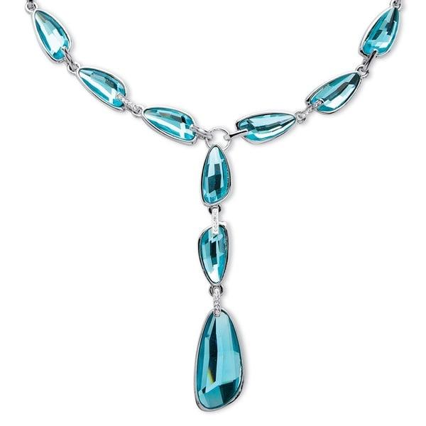 PalmBeach Silvertone Blue Half Moon Swarovski Crystal 'Y' Necklace Bold Fashion