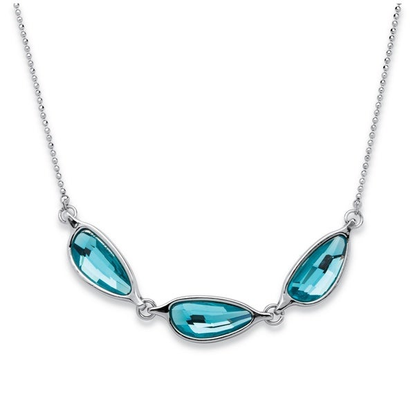PalmBeach Silvertone Blue Half Moon Swarovski Crystal Necklace Bold Fashion
