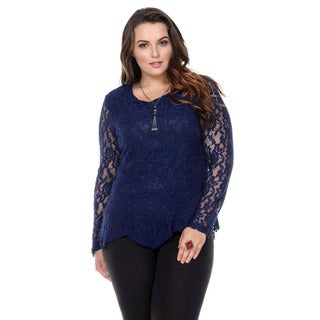 Stanzino Women's Plus Size Lace Peplum Top