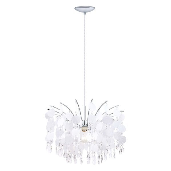 Eglo FEDRA 1-light 150-watt Chandelier with Chrome Finish and Glitter Teflon Glass and Crystals