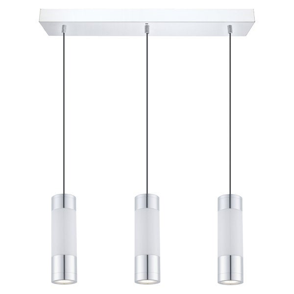 Eglo FOSFOROGLO 3-light 6W LED and 3-light 1.7W LED Multi Light Pendant with Chrome Finish and White Glass