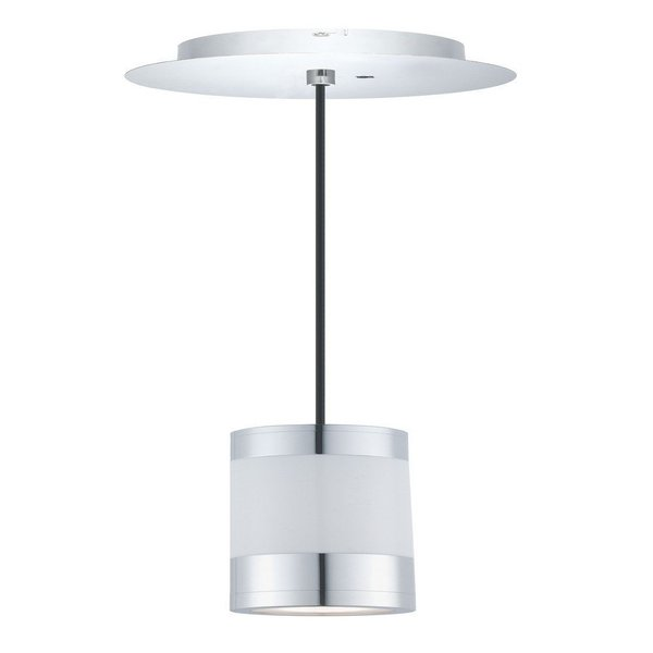 Eglo FOSFOROGLO 1-light 6W LED and 1-light 1.7W LED Mini Light Pendant with Chrome Finish and White Glass