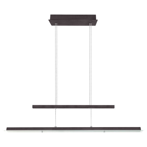 Eglo RUFO 1-light 36W LED Linear Adjustable Pendant with Black and Siver Finish and Satin Glass
