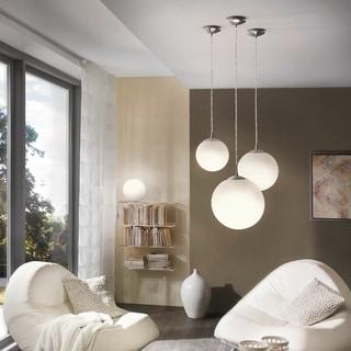 Eglo Rondo 1-light 60-watt Pendant with Matte Nickle Finish and Opal Glass