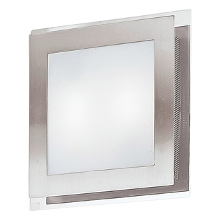 Eglo Eos 2-light 40-watt Ceiling Light with Matte Nickel and Chrome Finish and Satin Glass