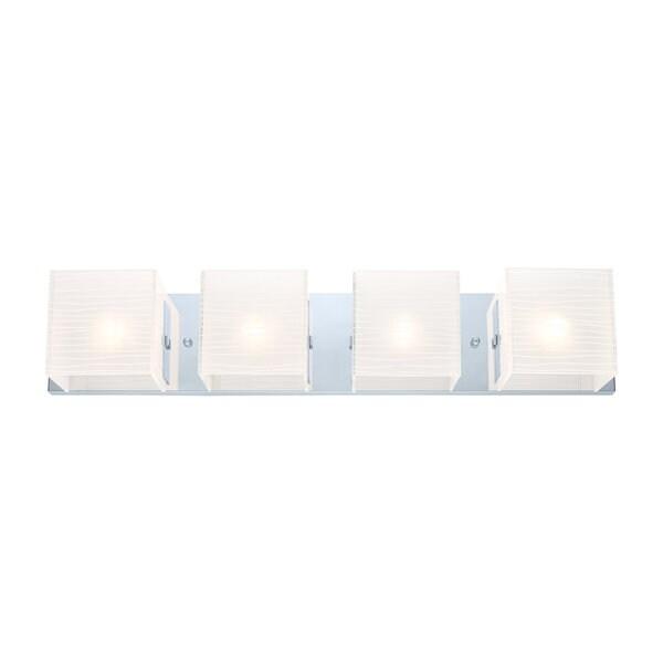Eglo Alea 4-light 60-watt Vanity Light with Chrome Finish and Striped Satinated Glass