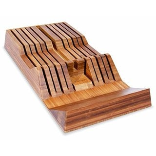 Culina Bamboo In-drawer Knife Tray with Handle Rest Wedge